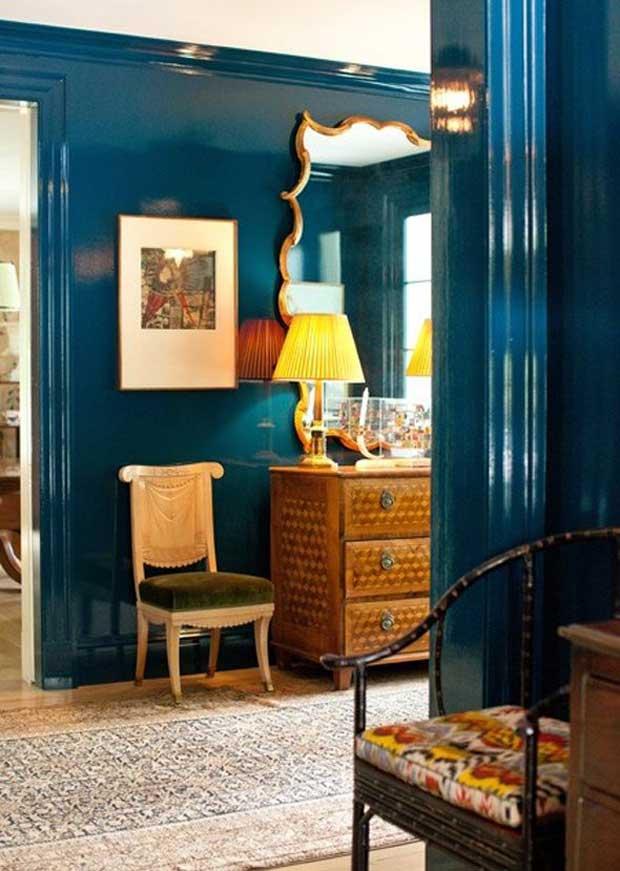 Deep Blue Gloss Painted Walls