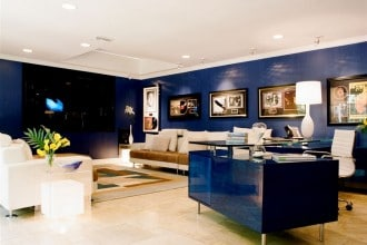 Rich Gloss Blue Walls & Desk