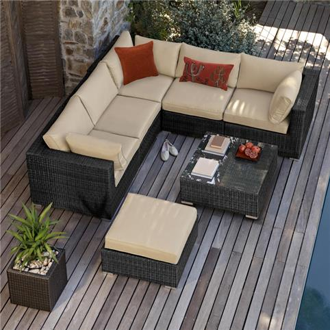 Designer Garden Furniture to Inspire a New Spring Look - Black Maze Rattan - London Corner Sofa Set