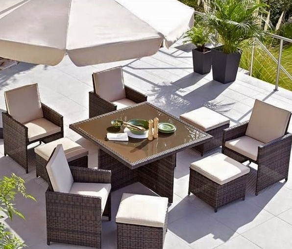 Designer Garden Furniture to Inspire a New Spring Look - Maze Rattan 5 Piece Cube Set With Foot Stools