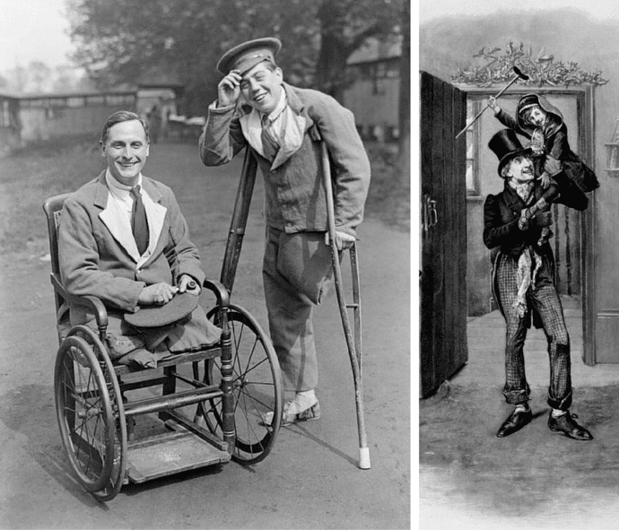 Accessibility Through The Ages - World War 1 Veterans & Tinny Tim From Charles Dickens