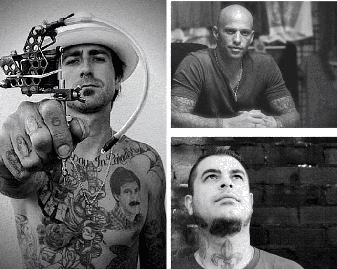 Art & Design Exhibitions In London - London Tattoo Convention 2015; Ami James from Miami Ink, Tim Hendricks From NY Ink, & Phil Kyle From London Ink.