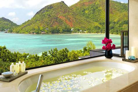 7 Amazing Ocean View Bathrooms That Will Have You Packing Your Suitcase - Raffles Praslin, Seychelles