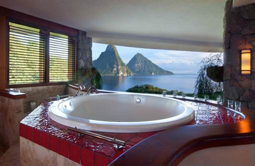 7 Amazing Ocean View Bathrooms That Will Have You Packing Your Suitcase - Jade Mountain, St Lucia