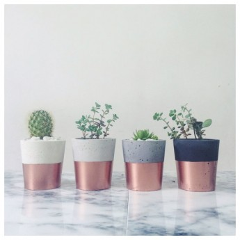 Concrete and copper planters