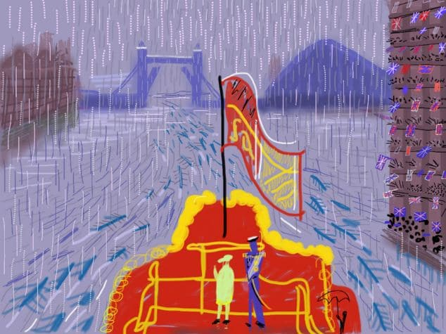 "The Queen and Prince Philip on The Spirit of Chartwell in the rain at the Thames River Pageant on Sunday 3 June 2012 by David Hockney - title ""The End Of The Regatta"" June 2012 Mail On Sunday exclusive"