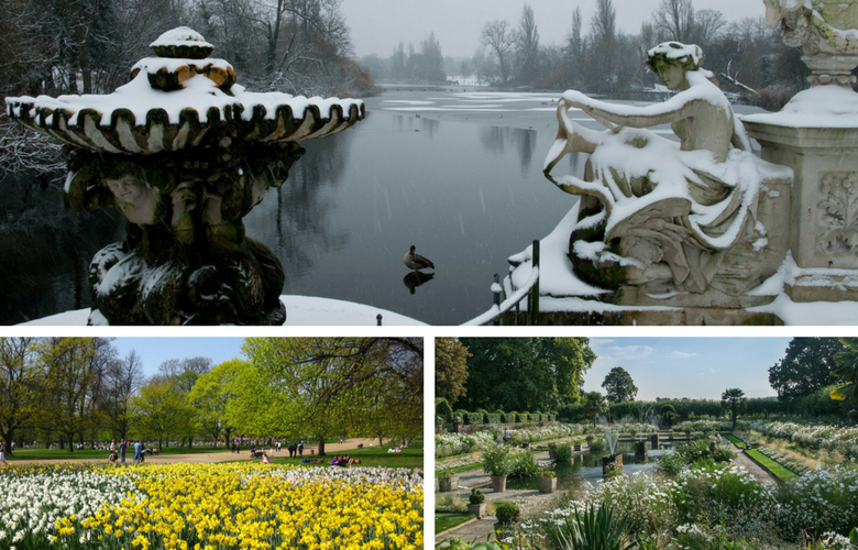 Gardens - Winter To Summer - Kensington Gardens - Images Via Flickr - By Hannah Swithinbank, Paul-in-London, & Peter Albion