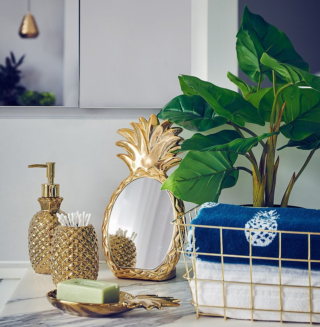 How To Turn Your Bathroom Into A Golden Oasis - Golden Pineapple From ASDA