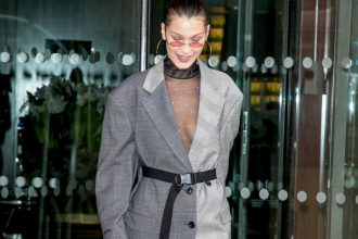 Get It To Go: Top Accessories Trends For Summer 2018 - Tiny Sunglasses - Bella Hadid - Image From usmagazine