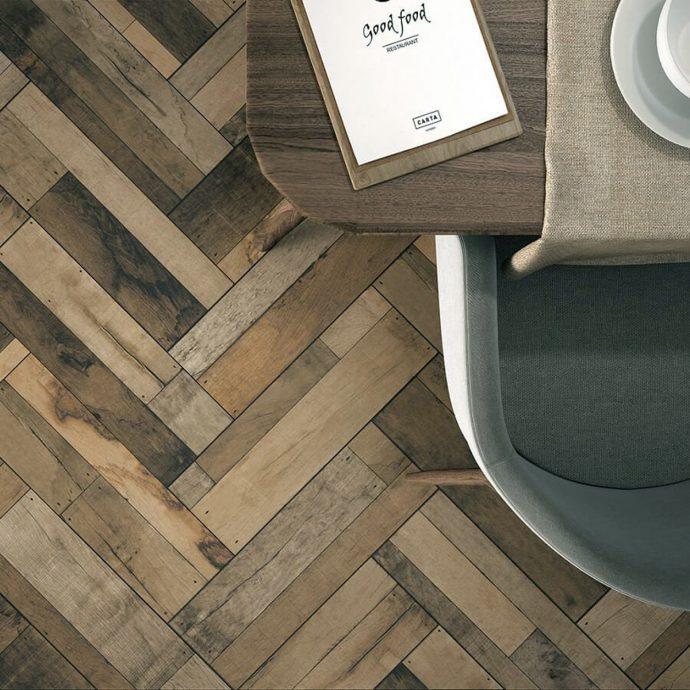 4 Inspiring Patterned Tile Ideas - Madera Beige Ceramic Floor Tiles