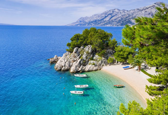 Beautiful beach near Brela town, Dalmatia, Croatia.