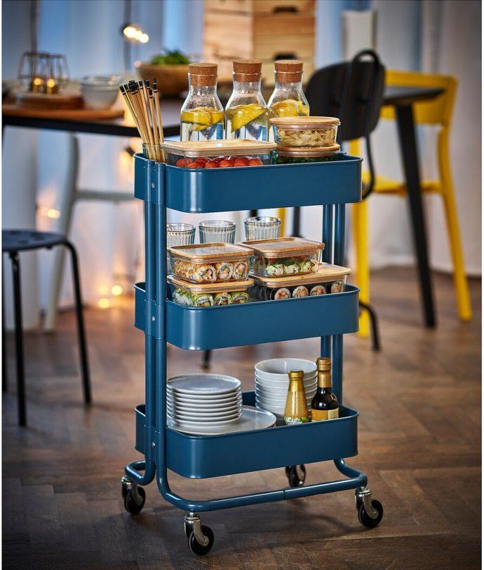 IKEA RÅSKOG Utility cart dark blue