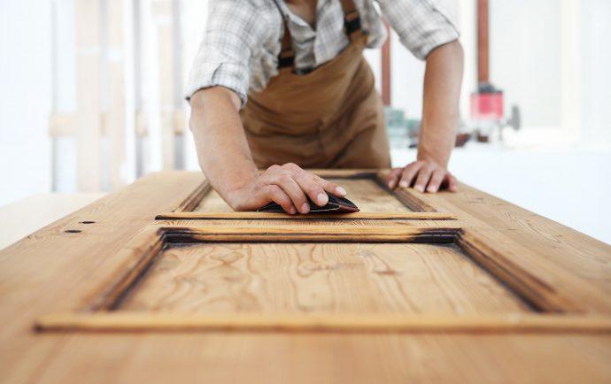 Sanding wooden door
