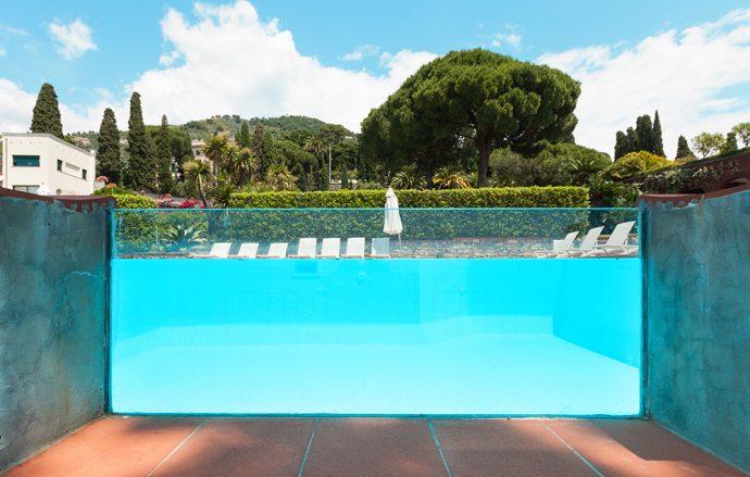 Glassed walled pool