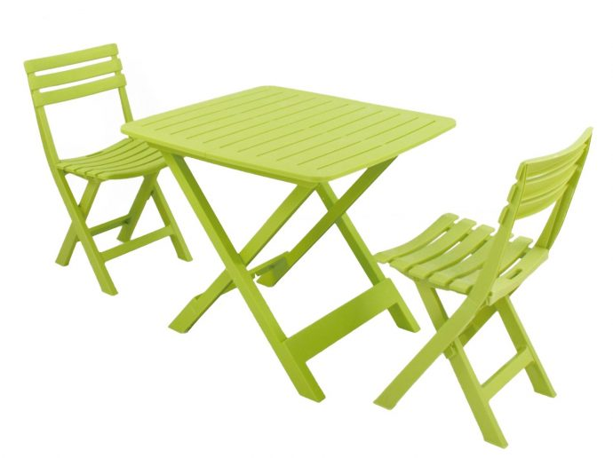 BRESCIA Lime folding table and chairs