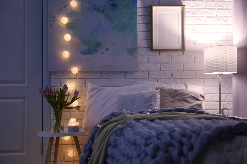 Snug bedroom with fairy lights