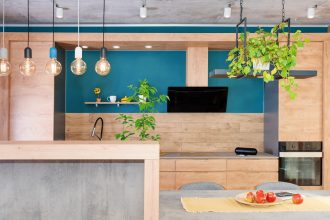 Modern wooden and blue kitchen