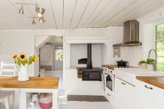 White painted kitchen with real wood countertops/worktops
